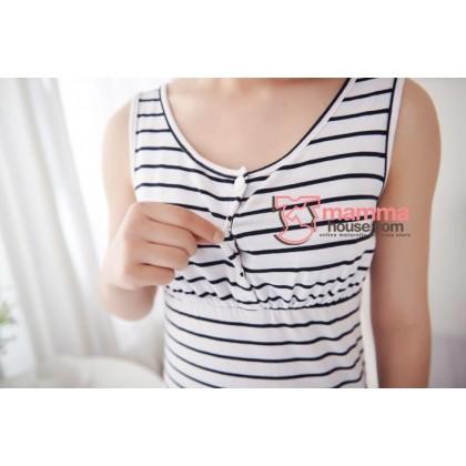 Nursing Singlet - JP Top Button White Stripe