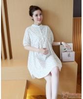 Maternity Dress - Collar Linen Flora White