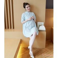 Maternity Dress - Collar Linen Flora Blue