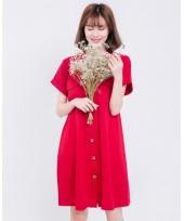 Nursing Dress - V Button Red