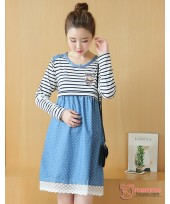 Nursing Dress - Army Polka Lace Blue Long