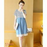 Nursing Dress - Army Polka Lace Blue