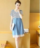 Nursing Dress - Army Polka Lace Blue