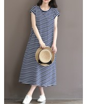 Nursing Dress - Long Stripe Dark Blue