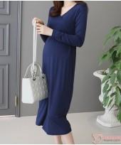 Nursing Dress - Midi Ruched Dark Blue