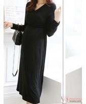 Nursing Dress - Midi Ruched Black