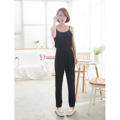 Nursing Jumpsuit - 1 pc Singlet Long Black