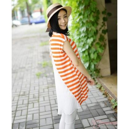 Maternity Tops - Stripe Orange Lace