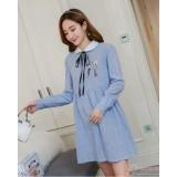 Maternity Dress - Long White Collar Blue