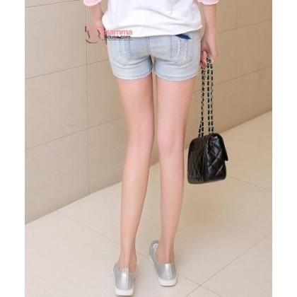 Maternity Shorts - Lace Line Light Blue Jeans