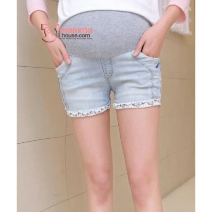 Maternity Shorts - Lace Line Light Blue Jeans