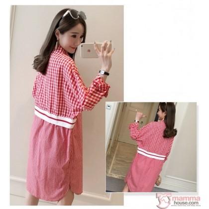 Nursing Dress - Grid Style Red