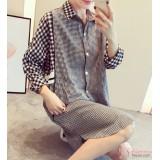Nursing Dress - Grid Style Black