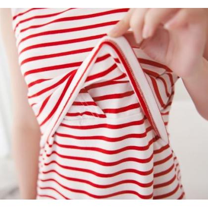 Nursing Tops - JP Singlet Mid Stripe Red