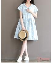 Maternity Dress - Fresh Blue Flower
