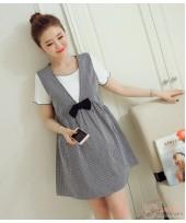 Maternity Dress - Mid Ribbon Grid Black White