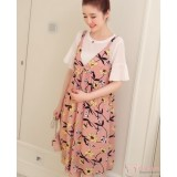 Maternity Dress - 2pcs Chiffon Flower Pink
