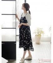 Maternity Dress - 2pcs Floral Long