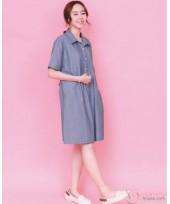 Nursing Dress - Collar Denim Blue