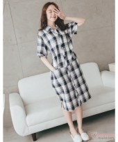 Nursing Dress - Long Grid Button Blue