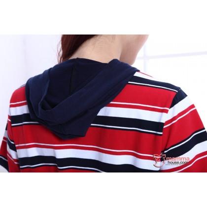 Nursing Dress - Stripe Drawstring Red