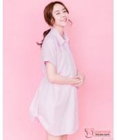 Nursing Dress - Collar Stripe Pink
