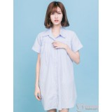 Nursing Dress - Collar Stripe Blue