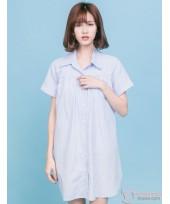 Nursing Dress - Collar Stripe Blue