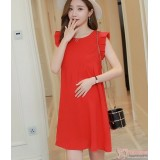 Maternity Dress - Chiffon Shine Red