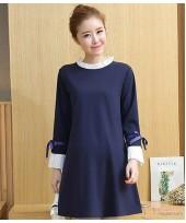 Maternity Dress - Chiffon Collar Dark Blue