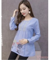 Maternity Tops - Long Blouse Stitch Blue