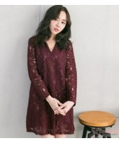 Nursing Dress - Elegant Lace Maroon Long Sleeves V NECK