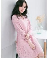 Nursing Dress - Elegant Lace Pink Long Sleeves V NECK