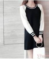 Nursing Dress - Knitted Zip Black