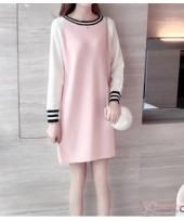 Nursing Dress - Knitted Zip Pink