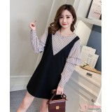 Maternity Blouse - 2pcs Stripe Join Black