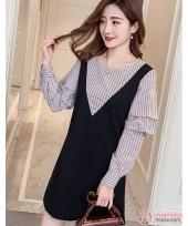 Maternity Dress - 2pcs Stripe Join Black