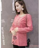 Maternity Tops - Long Blouse Stitch Pink Red