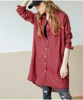 Maternity Tops - Long Blouse Grid Red