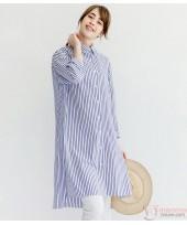 Maternity Tops - Long Blouse Vert Stripe Blue