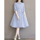 Maternity Dress - Long Stripe Light Blue