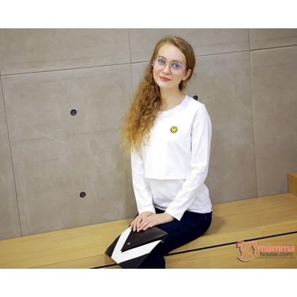 Nursing Tops - Long Little Smile White