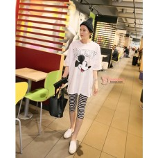 Nursing Set - White Mickey (stripe legging)