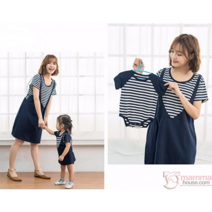 Nursing Set - V Dark Blue (plus baby romper)