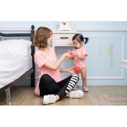 Nursing Set - Star R Pink (plus baby romper) Tops