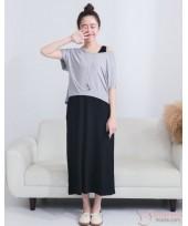 Nursing Dress - Long Cotton Grey Black