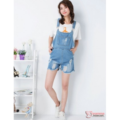 Maternity Strap Shorts - Jeans 3 buttons Strap