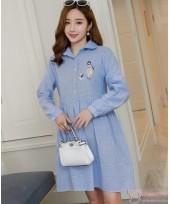 Maternity Dress - Kitten Collar Blue