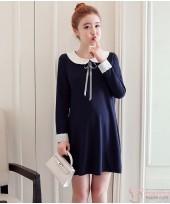 Maternity Dress - Collar Ribbon Dark Blue