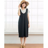 Nursing Dress - 2pcs V Singlet Dress